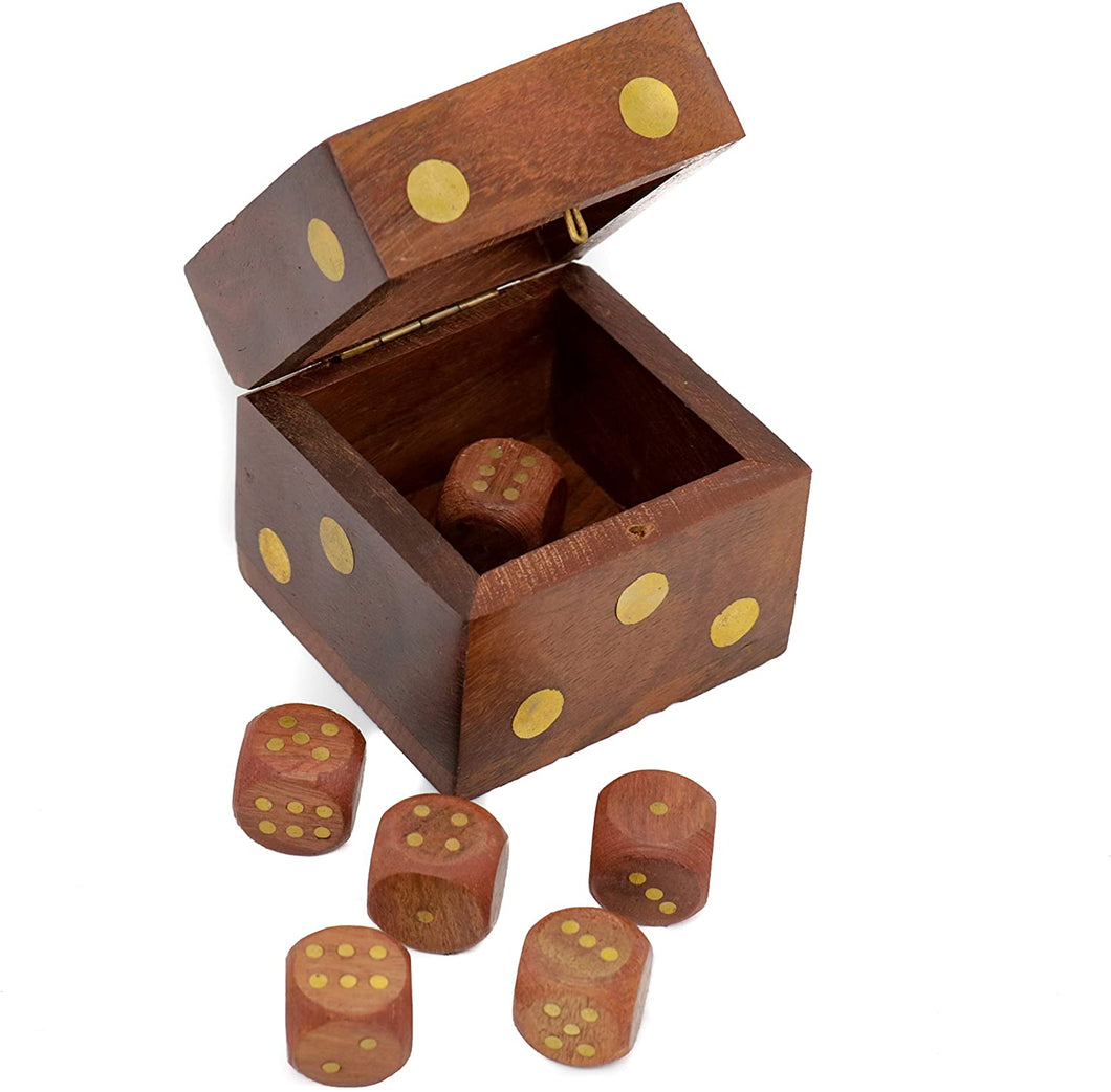 Mythrojan Wooden Tic Tac Desktop/Travel Board Game - Set of 5 Dice with Square Storage Box