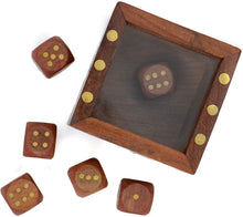 Load image into Gallery viewer, Mythrojan Wooden Tic Tac Desktop/Travel Board Game - Set of 5 Dice with Square Storage Box