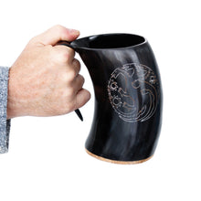 Load image into Gallery viewer, Mythrojan Tumbler Viking Drinking Cup with Handle & Medieval Buckle Renaissance with leather strap - 600 ML / Dragon