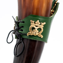 "Load image into Gallery viewer, Mythrojan""THE ELEGANT LADY"" Viking Drinking Horn with Leather holder Authentic Medieval Inspired Viking Wine/Mead Mug - Polished Finish - 250 ML / Green"