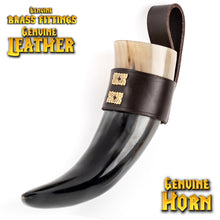 Load image into Gallery viewer, Mythrojan THE WEALTHY MERCHANT - Viking Drinking Horn with Leather holder Authentic Medieval Inspired Viking Wine/Mead Mug - Polished Finish - 250 ML / Brown