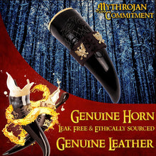 Load image into Gallery viewer, Mythrojan The King of The North - Viking Drinking Horn with Leather Holder - Polished Finish - 300 ML / With Brown Leather Holder