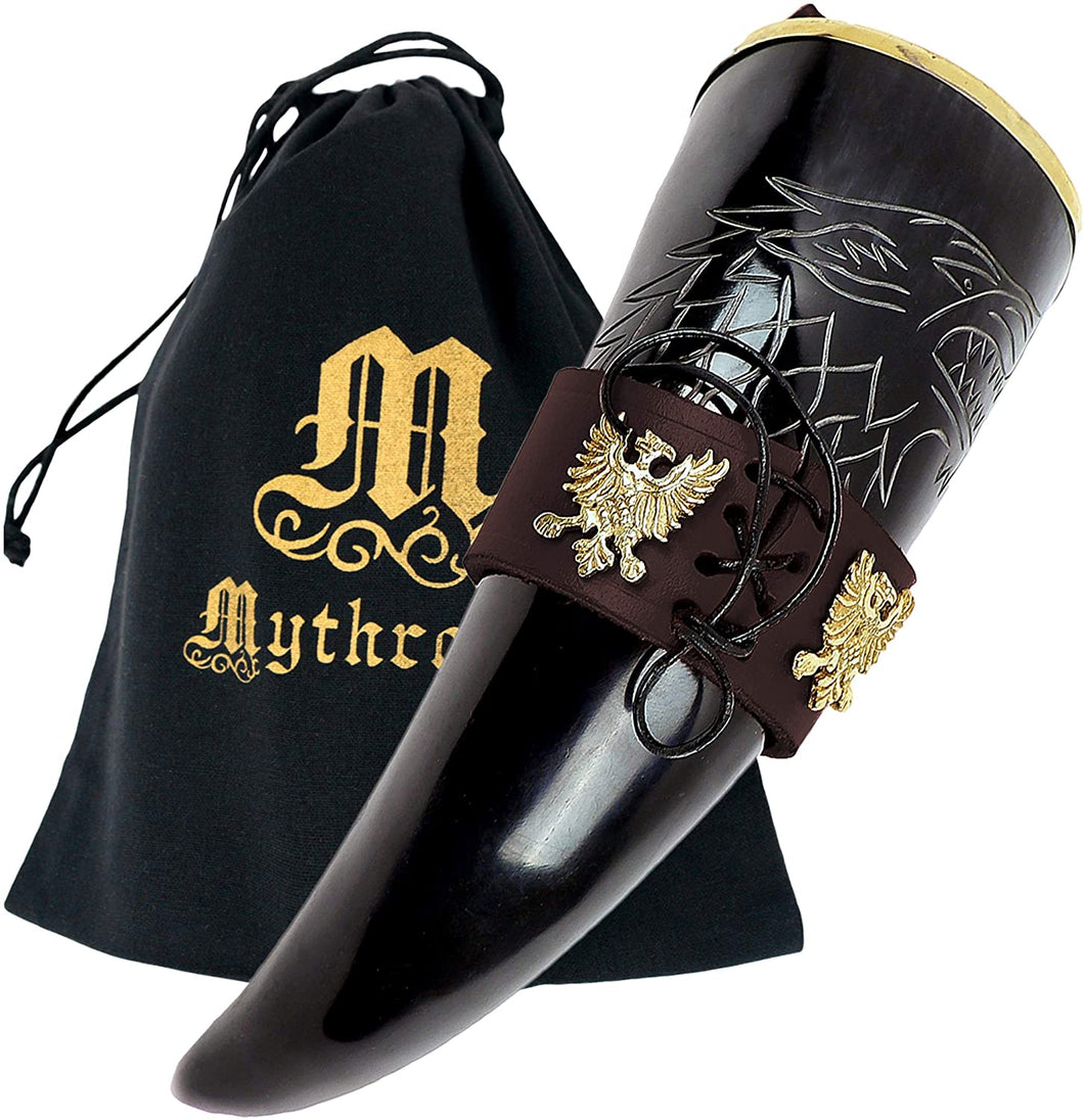 Mythrojan The King of The North - Viking Drinking Horn with Leather Holder - Polished Finish - 300 ML / With Brown Leather Holder