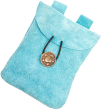 "Load image into Gallery viewer, Mythrojan Medieval Belt Pouch Suede Leather Storage Bag for Men and Women - Height - 5.5"" x Width - 5.1"" / Light Blue"