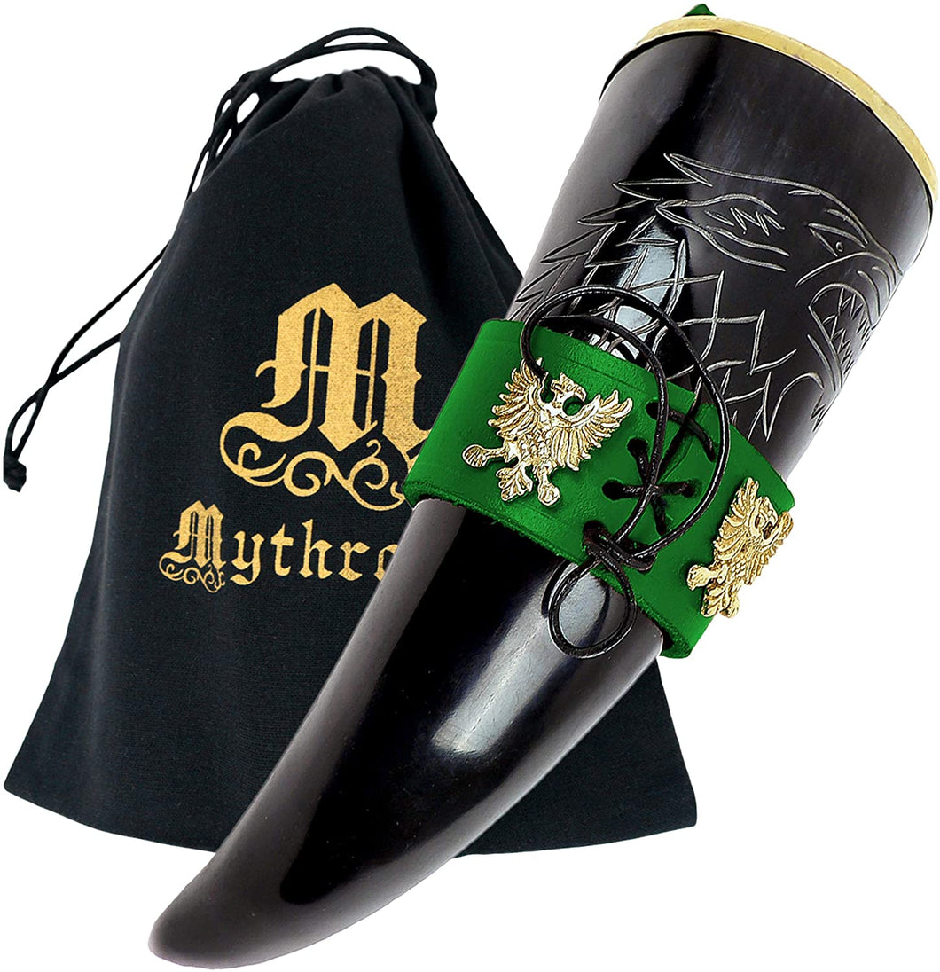 Mythrojan The King of The North - Viking Drinking Horn with Leather Holder - Polished Finish - 300 ML / With Green Leather Holder