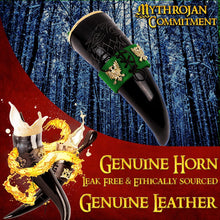 Load image into Gallery viewer, Mythrojan The King of The North - Viking Drinking Horn with Leather Holder - Polished Finish - 300 ML / With Green Leather Holder