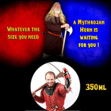 Load image into Gallery viewer, Mythrojan THE WEALTHY MERCHANT - Viking Drinking Horn with Leather holder Authentic Medieval Inspired Viking Wine/Mead Mug - Polished Finish - 350 ML