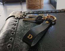 Load image into Gallery viewer, A-Z Black Leather Keychain