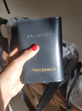 Load image into Gallery viewer, Personalized passport cover- black leather