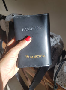 Personalized passport cover- black leather