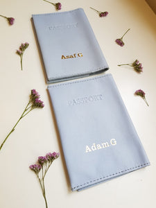 Personalized passport cover- light blue leather