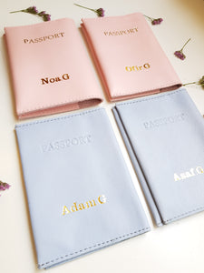 Personalized passport cover- pink leather