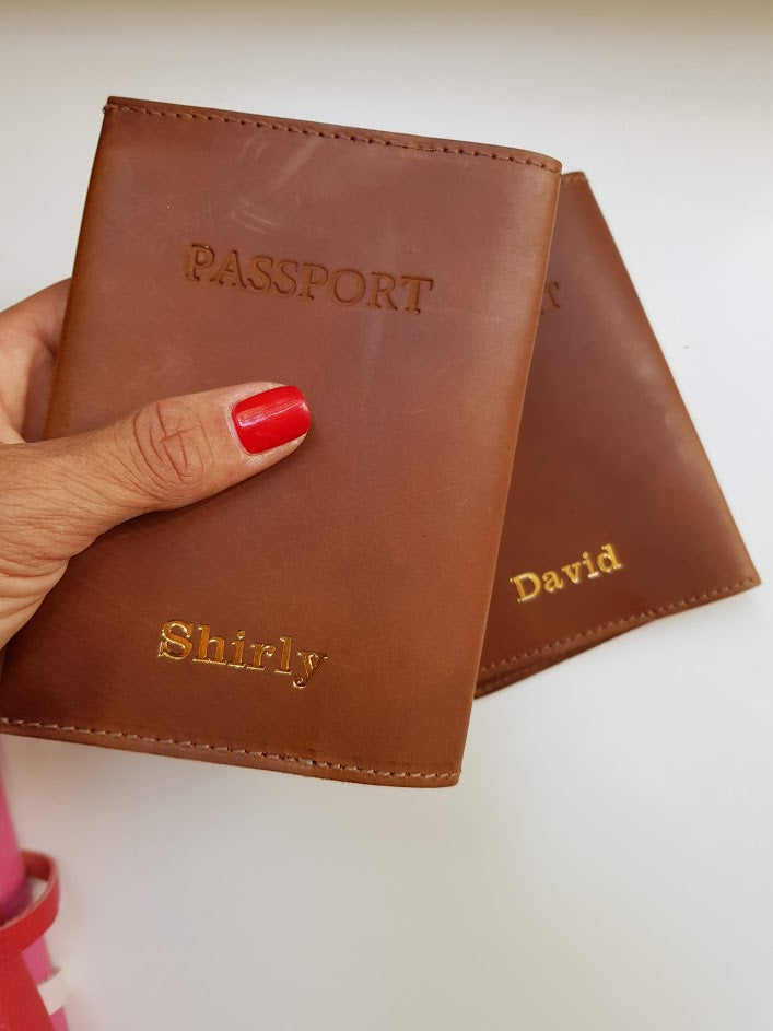 Personalized passport cover- brown leather