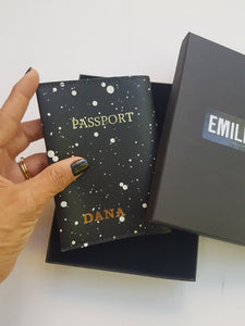 Personalized passport cover- snow leather