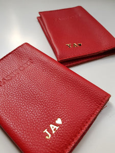 Personalized passport cover- red leather