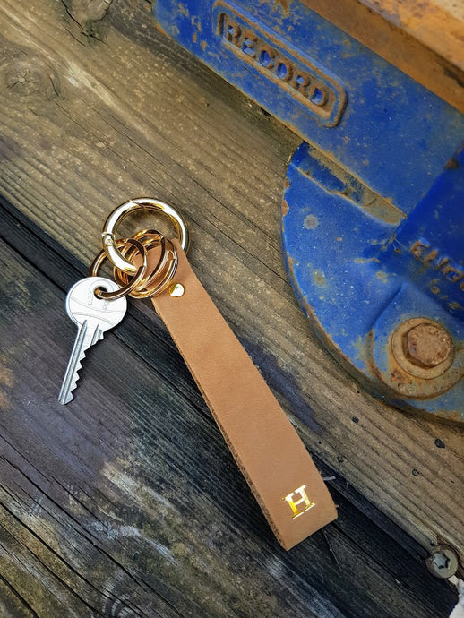 Personalized Brown Leather Keychain