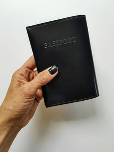Passport Cover + Luggage tag + Card Holder- shiny black leather