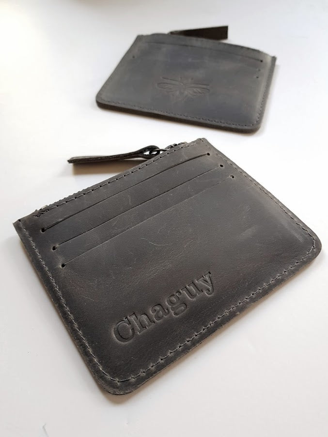 Card Holder - Dark  Gray Leather