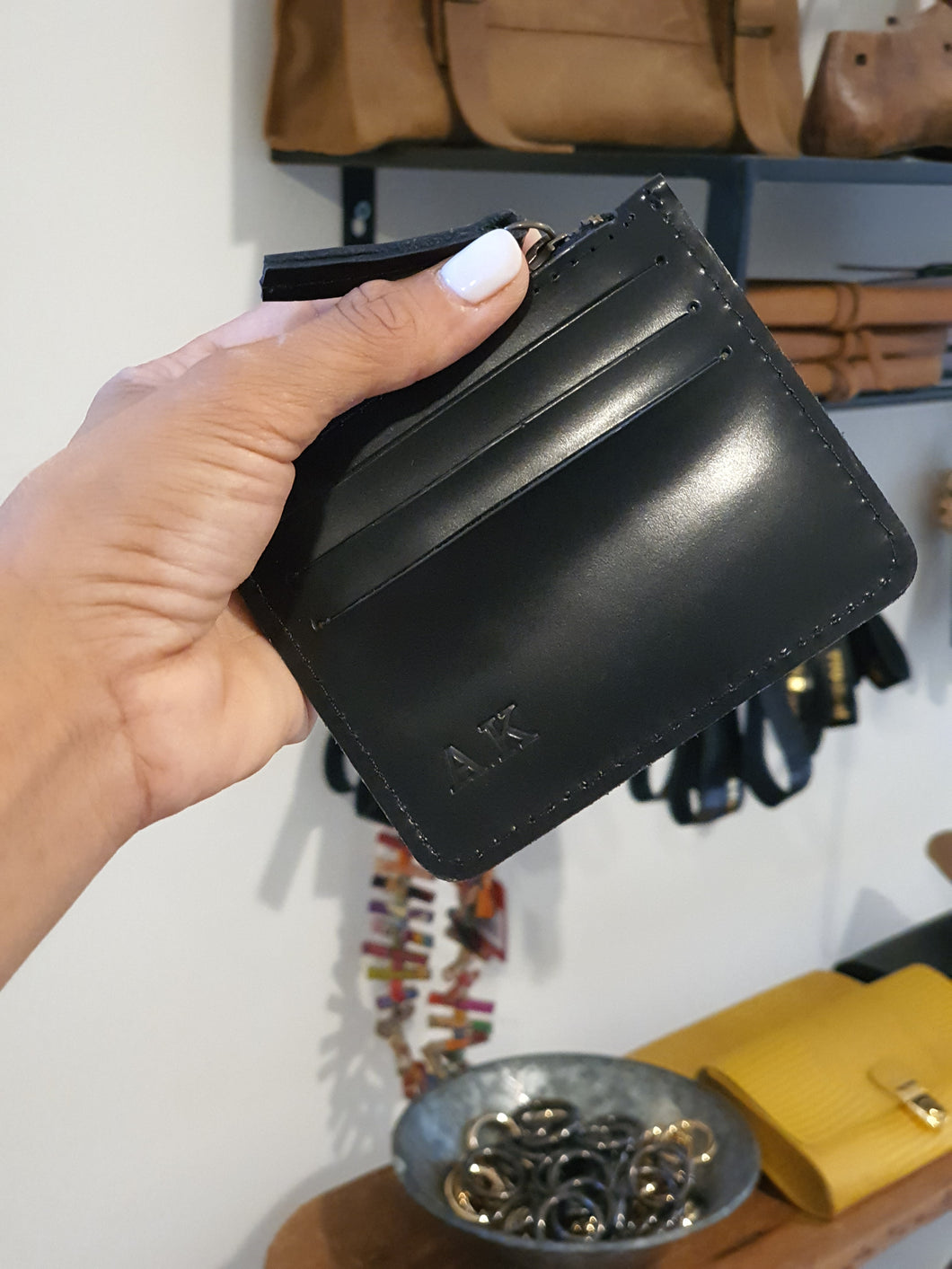 Card Holder - Black Shiny Leather