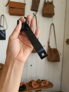 Personalized Black Leather Keychain