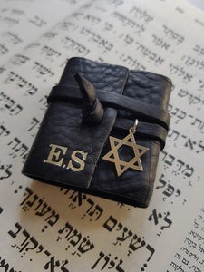 Personalized Tehilim - black leather
