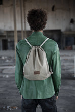 Load image into Gallery viewer, Backpack- Olive Canvas& Leather