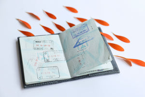 Personalized passport cover- gray leather