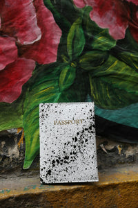 Passport Cover - White With Splashes