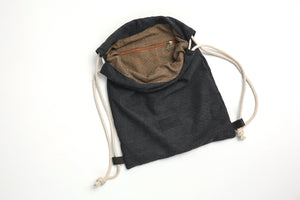 Backpack - Black Canvas & Leather