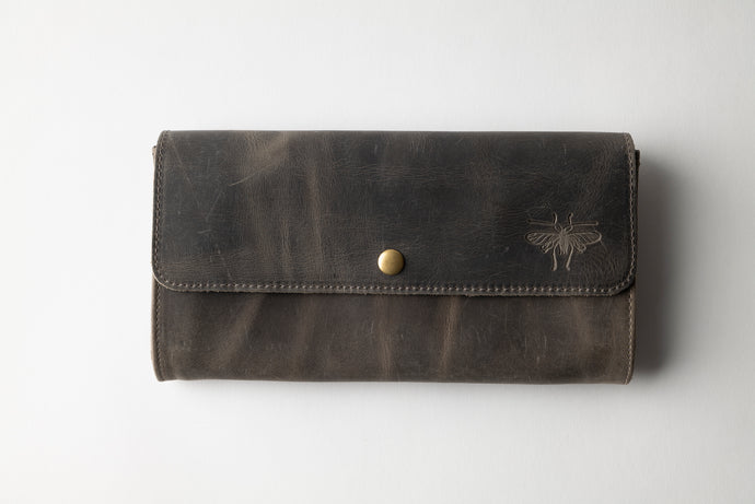 Large Wallet - Dark Gray Leather