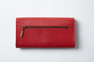 Large Wallet- red texture leather