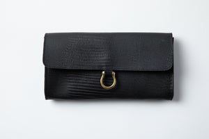 Large Wallet- black texture leather