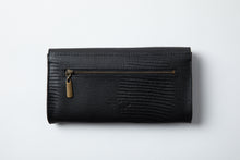 Load image into Gallery viewer, Large Wallet- black texture leather