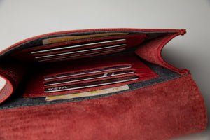 Medium Wallet- red texture leather