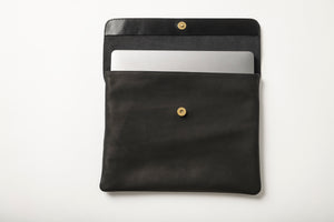 Laptop Case - Black Leather