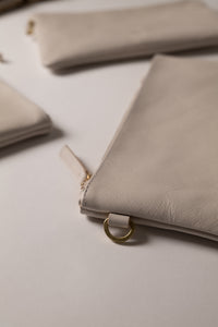 Clutch Bag- Stone Color Leather