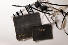 Load image into Gallery viewer, Tallit & Tefillin - Rough Black Leather