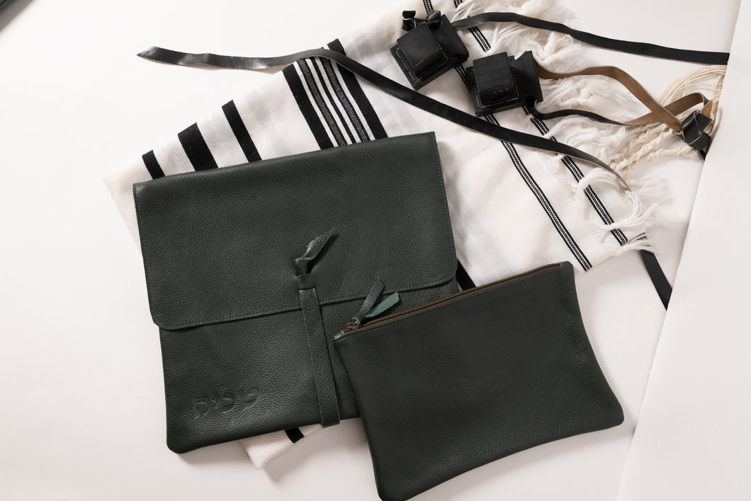 Tallit & Tefillin - Dark Green Leather