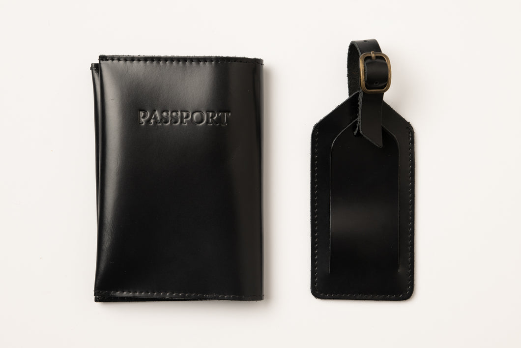 Passport Cover + Luggage tag- shiny black leather