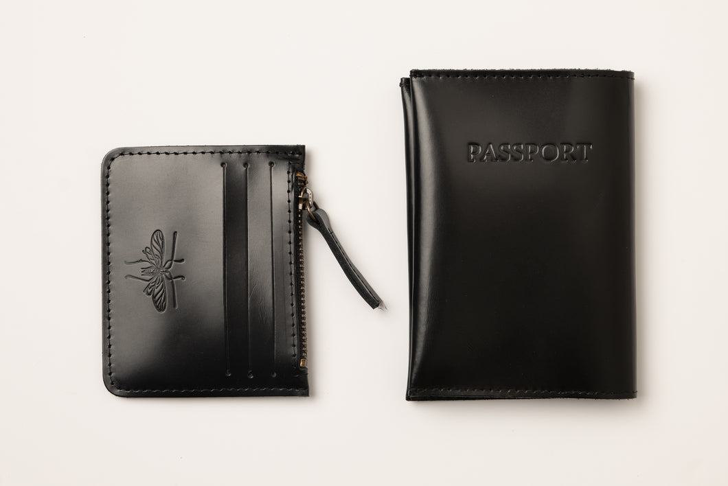 Passport Cover + Card Holder-shiny black leather