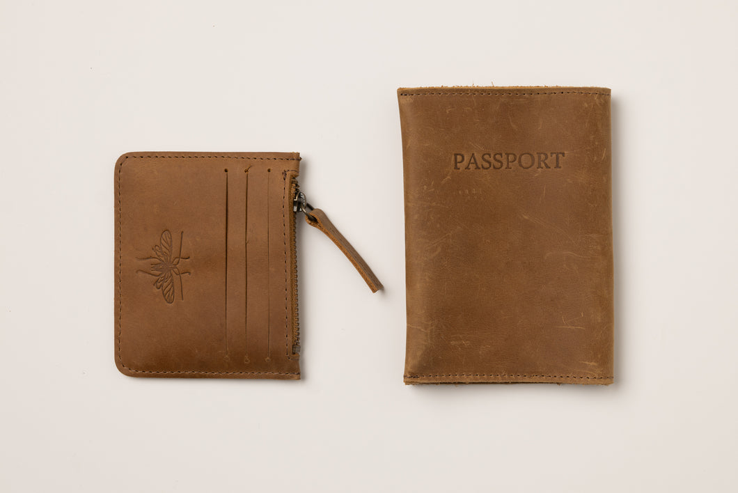 Passport Cover + Card Holder- brown leather