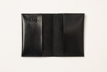 Load image into Gallery viewer, Passport Cover + Luggage tag + Card Holder- shiny black leather