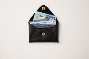 Mini wallet-shiny black leather