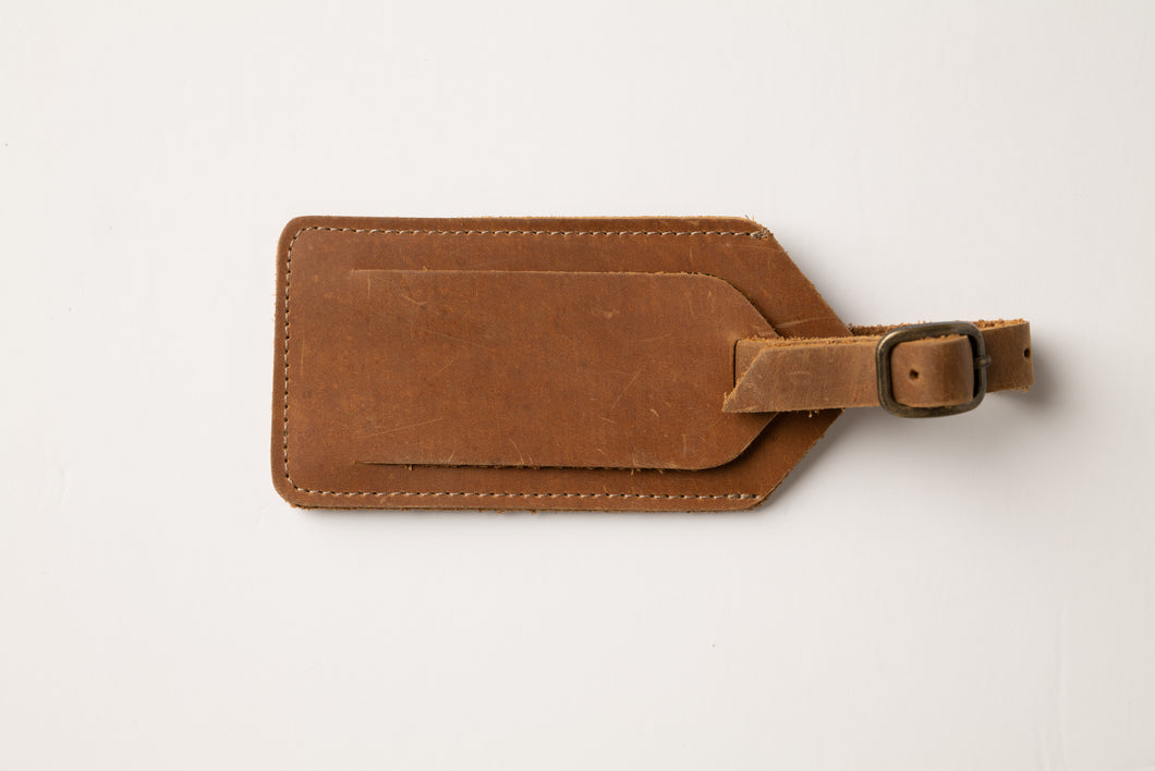 Luggage tag-brown leather