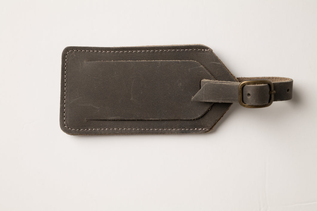 Luggage tag-gray leather