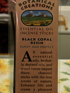 Botanical Creations-Black Copal Incense Sticks - 20 sticks