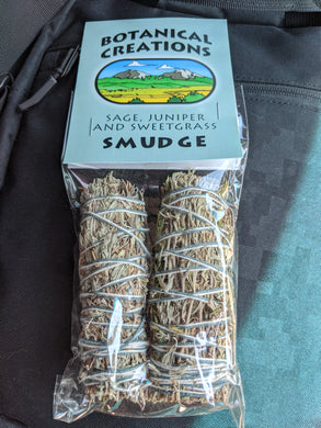 Sage, Juniper, & Sweetgrass Smudge Bundle-Small-2 pk