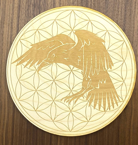 Raven Flower of Life Crystal Grid-6 inch