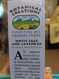 Botanical Creations-White Sage and Lavender Incense Sticks-20 sticks