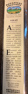 Botanical Creations-Cedar Incense Sticks-20 sticks
